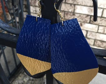 Handmade Navy Blue & Gold Dopped Leather Earrings, Leather Earrings, Hand Painted Earrings, Blue And Gold Earrings, Valentine's Day Gifts