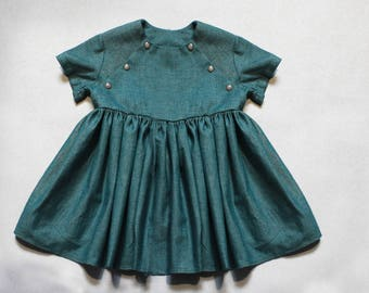 Cotton girls summer dress-Cyan cotton dress-Toddler flutter summer dress-Organic toddler dress-Summer baby cotton dress-Birthday girls dress
