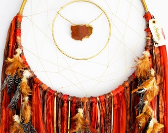 "Autumn Leaves Red Dream Catcher ~Large 18"" Agate ~ Boho Christmas Gift"
