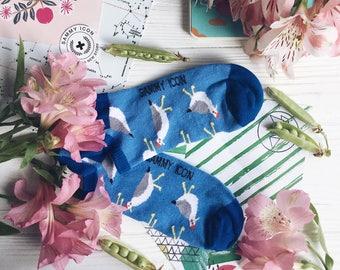 Seagull short socks, Seagull Socks, Marine Socks, Mens short socks, Navy Socks, Birds Socks, Fisherman Socks,  Happy Birds Socks, Sea Socks