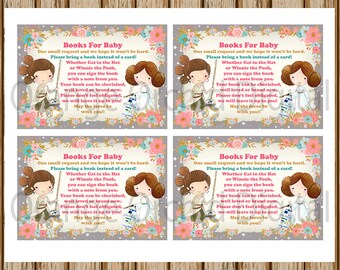 INSTANT DOWNLOAD- Star Wars Books For Baby Card- Jedi Princess Books For Baby- Books for Baby Request-8.5 x 11 size-Print Your Own-Digital