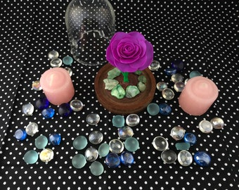 Purple Rose in a glass dome, Beauty and Beast Rose, rose,  Cake topper, wedding cake topper, table decoration, center piece, Enchanted rose