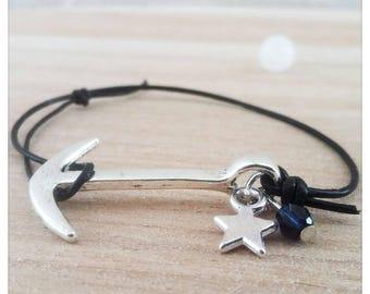 Anchor leather bracelet and Swarovski Crystal