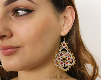 Chic handmade lace earrings made in Italy, jewelry for lady