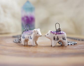 Ceramic galaxy Polar bear Necklace Totem Jewelry, Miniature bear, bear Figurine, Boho Jewelry, ceramic animal jewelry