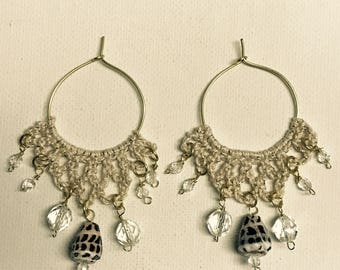 Hebrew Cone Shell Gold Wire Hoop Crochet Chandelier Earrings With Crystals