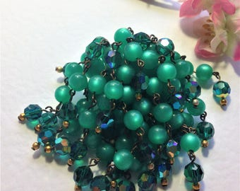 Vintage Green Brooch, Waterfall Brooch, Glass Beads, Green Carnival Beads, Vintage Wedding,