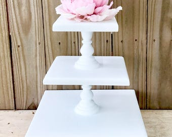 Tiered Dessert Stand, Wedding Cake Stand, Rustic Wood Cake Stand
