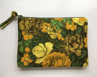 LARGE green and yellow vintage floral zippered pouch