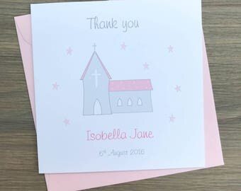 Personalised Baptism thank you cards - Personalised Christening Thank You Cards - girls christening thank you cards
