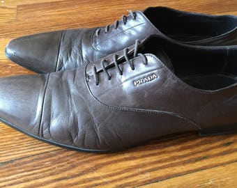 Prada Milano sz 46 (12) Brown chocolate Leather oxford Dress Blucher Lace Up Shoes