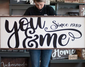 Valentines Day Gift | You & Me Wood Sign | Bedroom Wall Decor | Rustic Farmhouse | Anniversary Gift | Gift for Her | Bedroom Sign