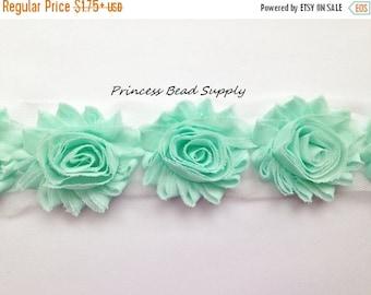SALE Mint Shabby Flowers by the Yard, Shabby Chic Chiffon Flowers, Shabby Flower Trim, Shabby Rose Trim, Headband Supplies, Headband Flower