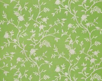 DESIGNER AVIARY BIRDS Cotton Linen Printed Fabric 10 Yards Green