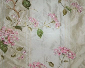 COLEFAX & FOWLER SUMMERBY Embroidered Floral Silk Stripes Fabric 10 Yards Cream Pink Green