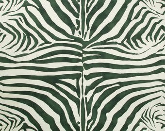 LEE JOFA KRAVET Zebra Cotton Linen Fabric 10 Yards Emerald Green