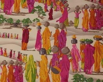 MANUEL CANOVAS MIDDLE Eastern Toile Linen Fabric 10 Yards Fuchsia Multi