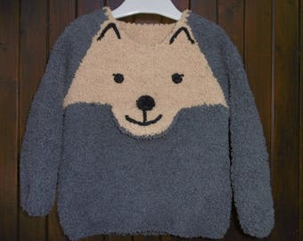 "Child's sweater hand knitted boy ""Fox"" from 2 to 6 years"