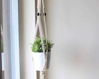 Macrame Plant Hanger, Wood Bead Macrame Pot Holder, Plant Holder, Hanging Planter, Beaded Cotton Macrame, Gifts for Her, Christmas Gift