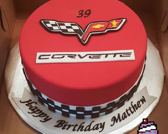 Corvette fondant cake topper