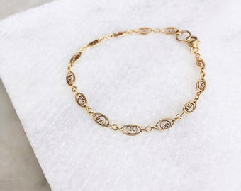Boho Anklet, 14 KT Gold Filled, Delicate Anklet, Prom, Dainty Bracelet, Gold Chain Anklet, Gold Anklet