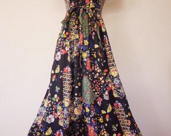 """Vintage 1970's Floral  """"Jody T"""" Cotton Maxi Dress, Size-XS/S"""
