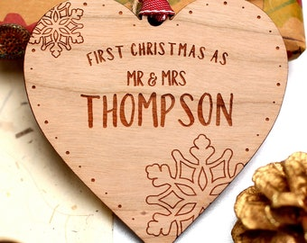 First Christmas As Mr & Mrs Ornament, Our First Christmas, Married Christmas Ornament, Couples First Christmas Decoration, Wooden Heart Gift