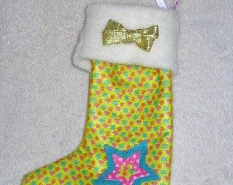 Boot Christmas felt and fleece, green hearts/stars
