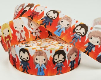 "1.5"" inch Killing Game, Kings Queens Dragons on Fire -   Printed Grosgrain Ribbon for 1 1/2 inch  Hair Bow"