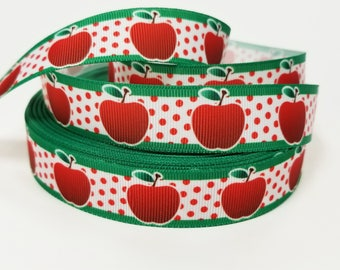 """7/8 """" inch Apples on White with Red dots on Green Border - Teacher - Back to School - Printed Grosgrain Ribbon for 7/8 inch  Hair Bow"""