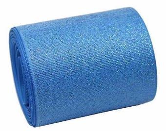 """3 inch Light Blue Glitter Super Sparkle Grosgrain Ribbon for 3 inch Cheer Hair Bow - Back is Lt Blue Grosgrain 3""""  3 inch Cheer Hair Bow"""