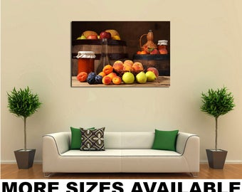Wall Art Giclee Canvas Picture Print Gallery Wrap Ready to Hang Fruit Peaches Pears Still-life Food 60x40 48x32 36x24 24x16 18x12 3.2