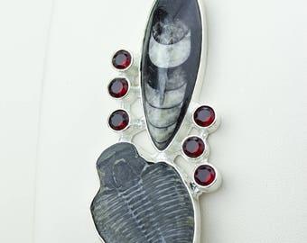 Orthoceras Trilobites Garnet 925 S0LID Sterling Silver Pendant + 4MM Snake Chain p4196
