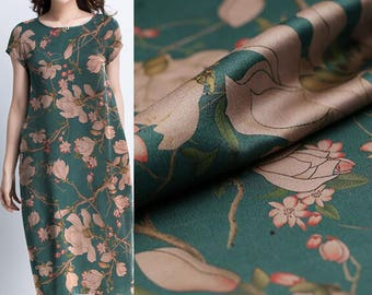 39 momme Flower silk fabric,floral crafts fabric,for dress material,width 42.51''(150-208)