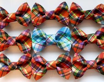 Plaid Dog Collar Bow Ties. Orange Plaid Dog Collar Bow Tie, Blue Plaid Dog Collar Bow, Wedding Dog Bow Tie, Custom Dog Bow Tie, Large Dog