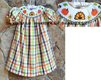 Smocked girls bishop dress Thanksgiving Turkey Pumpkin orange green brown gingham
