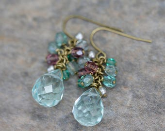 SALE -- Aqua Blue Quartz, Czech Glass, Pearl and Brass Cluster Earrings