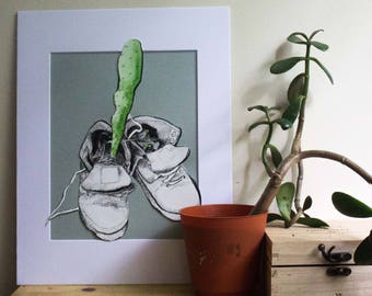 Original Painting Shoes Plant Cactus Matted 8x10 Ink Illustration