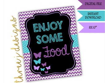 Butterfly Baby Shower Food Table Sign - INSTANT DOWNLOAD - Purple and Teal - Digital File - J001