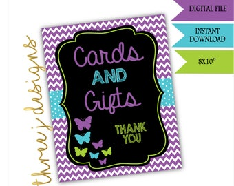 Butterfly Baby Shower Gift and Card Table Sign - INSTANT DOWNLOAD - Purple, Teal and Green - Digital File - J006