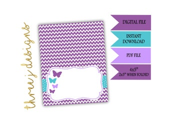Butterfly Baby Shower Food Tent Cards - INSTANT DOWNLOAD - Purple and Teal - Digital File - J001