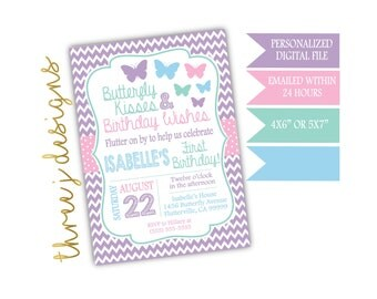 Butterfly Birthday Party Invitation - Pastel Purple, Pink, Green and Blue - Digital File - J010