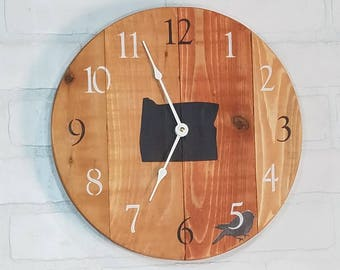 Round Wall Clock - Natural Oregon State
