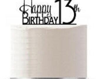 Happy 13th Birthday Agemilestone Elegant Cake Topper