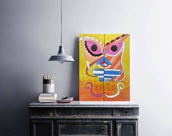 Colorful abstract face - original modern acrylic painting on canvas