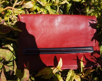 Evening bag vintage 1990's red faux leather lining satin
