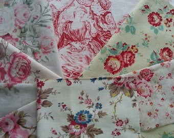 Vintage French Fabric Inspiration Bundle~1940's ~Old Roses & Romantic Toile ~suitable for patchwork, craft or other small projects.