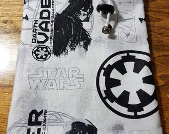 Dice Bag Made from Fabric depicting Darth Vader from Star Wars - White