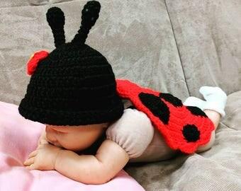 Newborn Ladybug Costume/Newborn Halloween Costume/Ladybug Outfit Costume/Ladybug Photo Props/Crochet Ladybug Outfit/Ladybug Costume