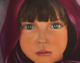 "Afghan girl ""Angel"" Original Heavy duty oil on canvas."